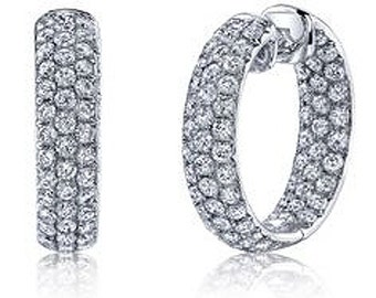 "1.65CT Diamond Inside Outside Hoops 14K White Gold 1/2"" Tall"