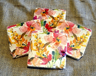 Pastel Flowers Natural Stone Coaster