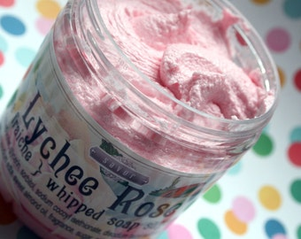 Whipped Soap Sugar Scrub Lychee Rose 8 oz Creme Fraiche