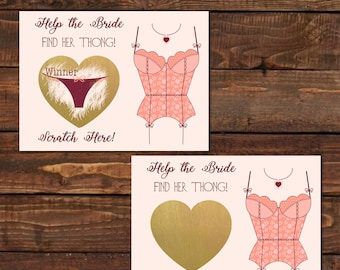 20 Bachelorette Party Scratch Off Game - Thong Funny game - Funny Bridal shower activity - Lingerie Party