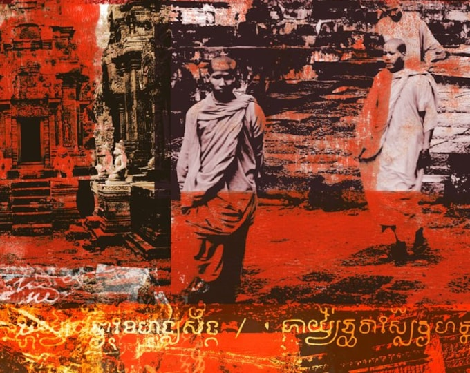 Cambodia Mixed Media VIII by Sven Pfrommer - Artwork is ready to hang with a solid wooden frame