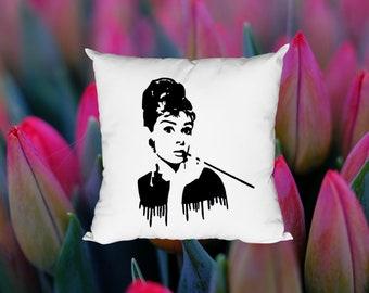 Audrey Hepburn Breakfast At Tiffany's Cushion Pillow Cushion Throw Pillow Cover Gift Art Watercolor