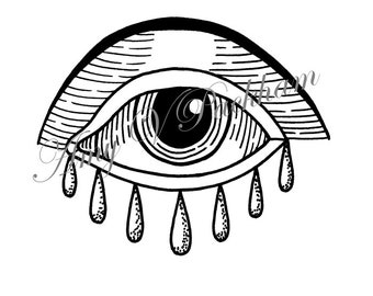 Eye With Tears Tattoo Design Illustration