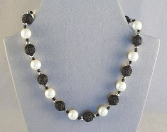Short Necklace with Pearls & Vintage Carved Black Beads  // Festive // Classy //  Dramatic // Elegant
