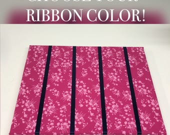 Pink and Navy Floral Hair Bow Holder Hair Bow Organizer Choose your Ribbon Color