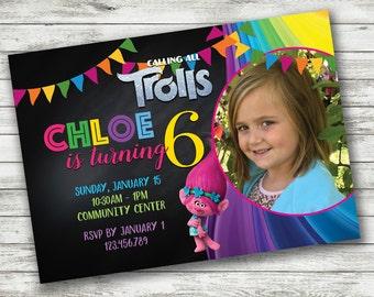 Printable Rainbow Birthday Invitations ~ Trolls birthday invitation printable digital file poppy