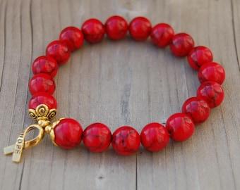 Hope Bracelet,Red Coral Stone Bracelet,Awareness Bracelet,10mm Gemstone Beads,Man,Woman,Health,Healing,Relieve,Protection,Meditation,Gift