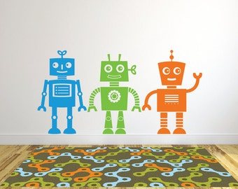 Robot Wall Decals, Sticker Robot, Wall Decals For Kids Robot, Playroom Wall  Decals