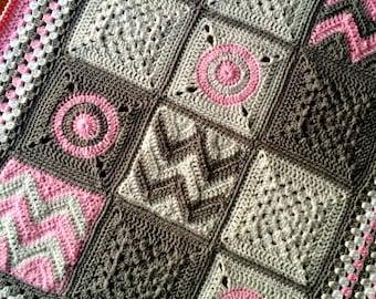 Crochet blanket Pattern tutorial/BabyLove Brand/CypressTextiles/Modern Patchwork blanket/easy unique baby chevron granny square circle motif