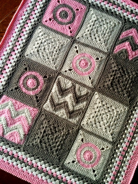 Pattern Babylove Brand Modern Patchwork Blanket Crochet