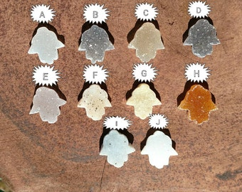 One (1) Druzy Hamsa Hand Cabochon | Druzy Cab | 15mm Jewelry Supply | Drusy Druzy