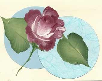 Hand Painted Rose Greeting Card