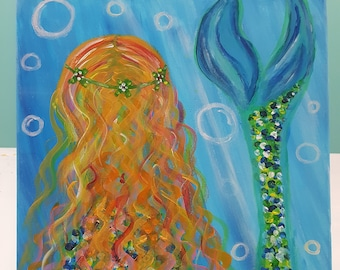 Original Mermaid Acrylic Painting on 16x20 inch stretched canvas