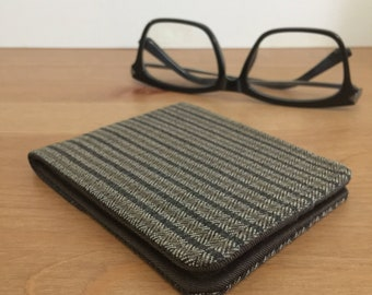 Slim Fabric Wallet | 5 Pocket Billfold | Brown Herringbone Tweed | Vegan Wallet