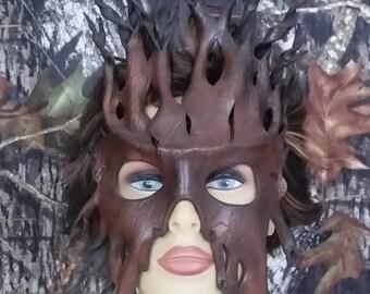 leather tree bark mask