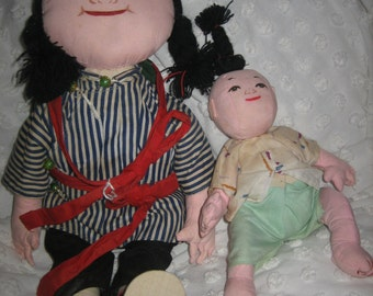 Cute oriental cloth doll mom and baby