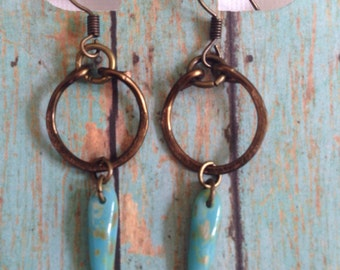Turquoise glass and antique gold hoop earrings