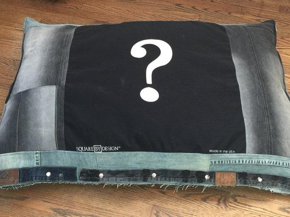 Super Huge, Extra Large, Denim, Black Dog Bed
