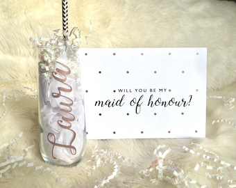 Maid of honor proposal- personalized champagne flute with name and card. will you be my maid of honor, bridesmaid, bridal party gift