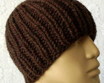 Wood brown beanie hat, ribbed hat, skull cap, mens womens knit hat, winter hat, brown hat, toque, chemo cap, brown beanie, brown knitted hat