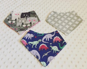 Set of three baby bib bandanas