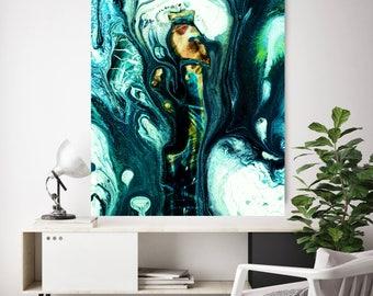 Large Teal Abstract Art, Gray and Teal Print, Teal Wall Art Print, Teal Poster Wall Art, Teal Art Poster, Teal Wall Art Decor, Modern Art