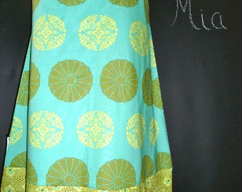 Sample SALE - Will fit Size M/L - Ready to MAIL - A-line SKIRT - Amy Butler - Green and Mint - by Boutique Mia