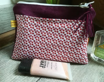"""""""Red wild flowers"""" suede pouch"""