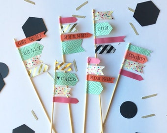 Party Buffet Washi Tape Skewer Flags