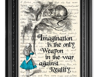 Alice in Wonderland Print, Handwriting Lewis Carroll Quote Print, Alice Quote print, Literary Gift, Alice in Wonderland Wall Art  [ART 166]
