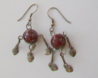 Plum Glass Caged Bead & Silver Tone Droppers Earrings