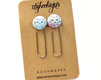Cats Giant Button Paper Clip Bookmarks, Cat Bookmarks, Cat Lover Gift Idea, Planner Accessories, Cat Book Accessories, Animal Book Lover