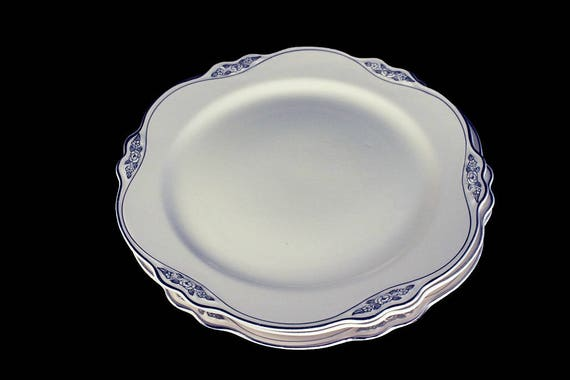 Luncheon Plates, Homer Laughlin, Silver Rose-Patrician, Platinum Florals and Trim, Virginia Rose Shape, Set of 3, Fine China