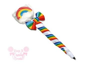 Rainbow Lollipen, Lollipop Candy Pen, Rainbow Wedding, Rainbow Candy Party Favor,Birthday Favor, Birthdays, Rainbow Theme, Lollipop Pen
