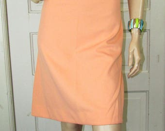 Polyester Sherbet Secretary Dress Vintage 1970 70s Cap Sleeves Office Party Boho Slim Fit S/M