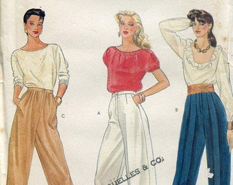 FREE US SHIP Vogue 8360 Vintage Retro 1980s 80s Banded Cuffed Button Leg Loose Fitting Pants Waist 24 Size 8 Old Store Stock Sewing Pattern