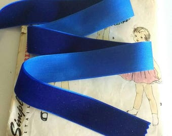 """Colbalt Blue Velvet Ribbon for Bows, Floral, and Millinery 1"""" One inch"""