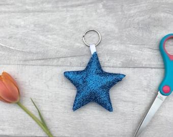 Star key ring, felt star, glitter star, blue star