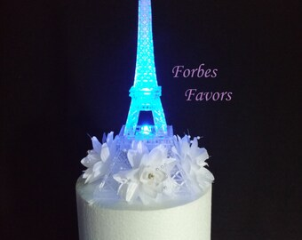 LED Eiffel Tower Light Up Cake Topper Wedding Cocktail Table Centerpiece
