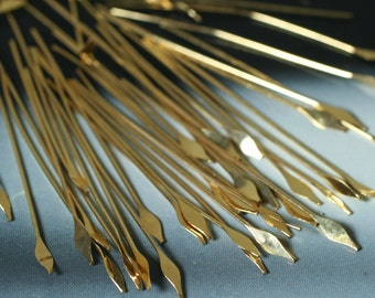 Gold plated paddle pin spear 21g thick 45mm long, 30 pcs (item ID F1781FN)