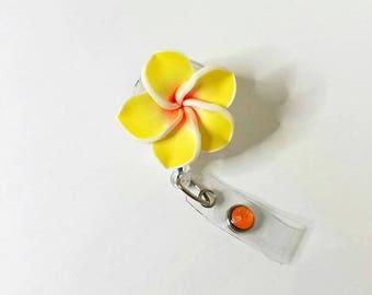 Large Yellow Plumeria, Plumeria Badge Reel, Hawaiian Flower Badge Reel, Retractable Badge Reel, Gift- BottleCapsGaloreNMor
