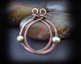 Rustic Copper Hoop Earrings - Hammered Copper Hoops - Wire Wrapped Hoops - Wire Wrapped Pearls on Handmade Copper Earwires - Gaia Hoops