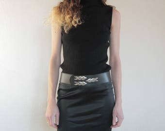 70's rock n' roll black leather wide belt with silver metal decorations