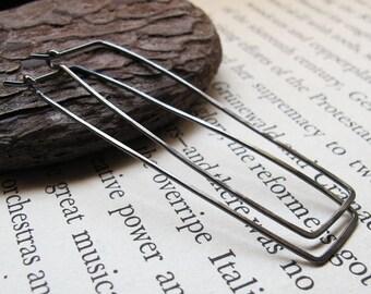 Rectangular Hoop Earrings - Black Sterling Silver Elongated Hoop earrings - Geometric jewelry -Rectangular Earrings - Rectangular Earrings