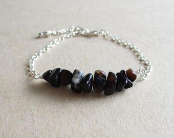 Onyx gemstone chip beads beaded minimalist bracelet