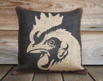 Chicken Pillow, Woodlands Throw Pillow, Decorative Cushion