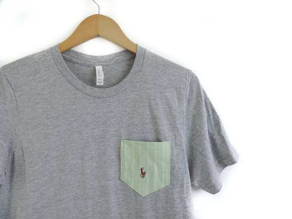 5cfe14f8f2 New Soft Gray Unisex T-Shirt with Upcycled Ralph Lauren Pocket