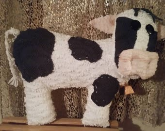 cow handmade from vintage chenille bedspread