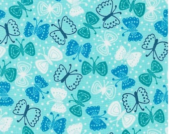 Blue Butterflies (Bright) from Robert Kaufman's Cherry Blossom Garden Collection by Wendy Kendall