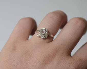 Raw 3 Stone Diamond Ring Uncut Engagement Ring Sterling Silver Handmade Engagement Avello